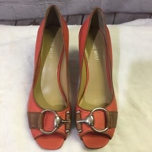 Nine West Persis Leather Wedge Open Toe Pump Sz 6M